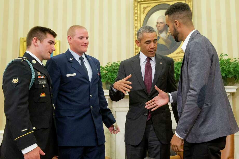 President Barack Obama honored, from left, Oregon National Guardsman Alek Skarlatos, Air Force Airman 1st Class Spencer Stone and Anthony Sadler in the Oval Office Thursday for heroically subduing a gunman on a passenger train in Paris last month. Photo: Andrew Harnik, STF / AP