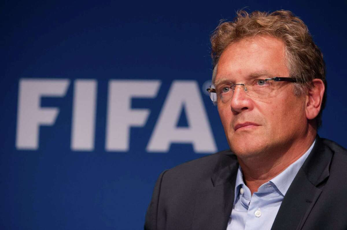 (FILES) A file picture taken on September 26, 2014 shows FIFA Secretary General Jerome Valcke giving a press conference at the end of a meeting of the FIFA Executive Comitee at the organistation's headquarters in Zurich, after formalizing his candidacy for a 5th mandate at the head of the FIFA. FIFA on September 17, 2015 immediately suspended secretary general Jerome Valcke over misconduct allegations and put him under investigation. Allegations have been made by a marketing agent about Valcke's involvement in the sale of tickets for last year's World Cup. AFP PHOTO / SEBASTIEN BOZONSEBASTIEN BOZON/AFP/Getty Images ORG XMIT: 605