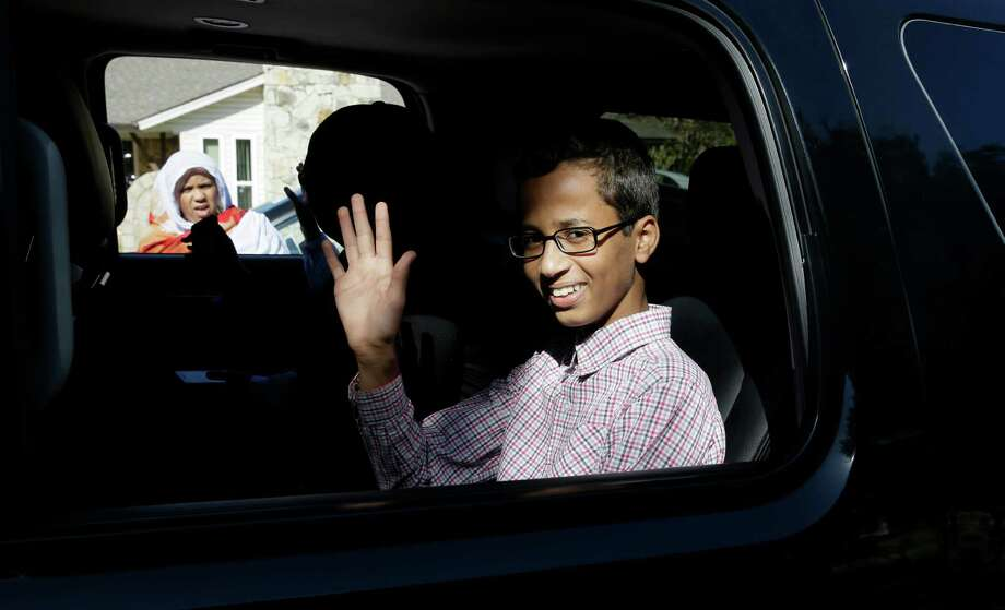 Ahmed Mohamed, 14, was arrested Monday at his school after a teacher thought a homemade clock he built was a bomb. He remains suspended and said he will not return to classes at MacArthur High School.  Photo: LM Otero, STF / AP