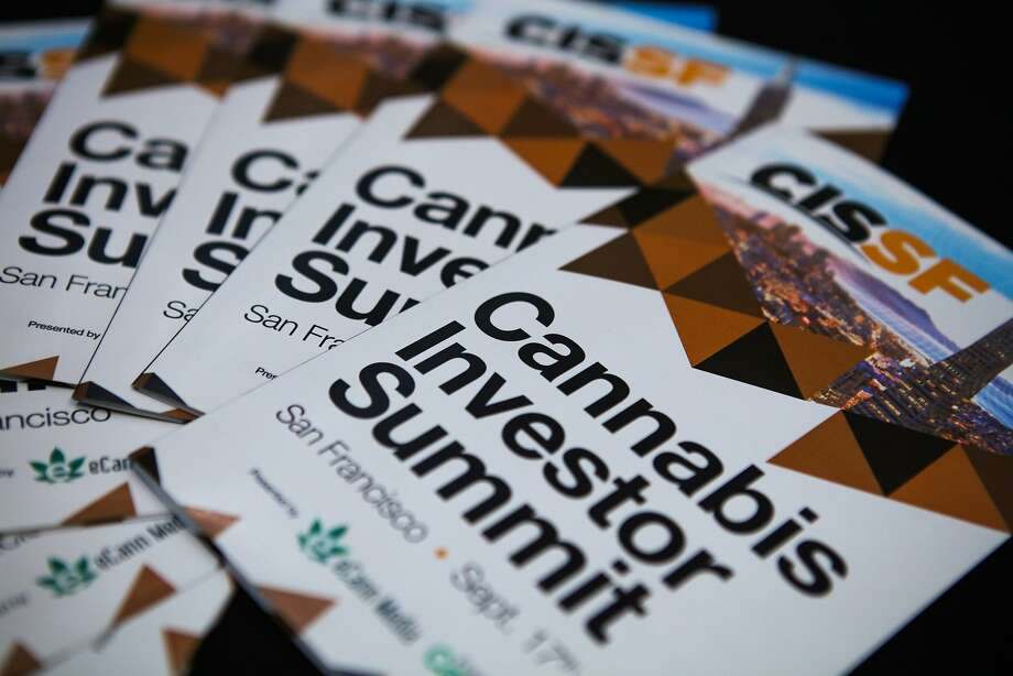 Leaflets sit on a table at the Cannabis Investor Summit at the Bentley Reserve in downtown San Francisco, California on Thursday, September 17, 2015. Photo: Gabrielle Lurie, Special To The Chronicle
