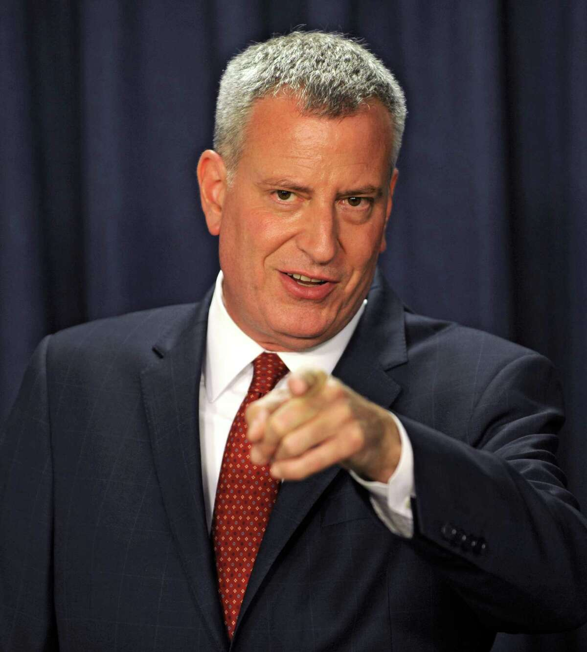 New York City mayor Bill de Blasio takes a question from the press as he talks about rent control and the 421a plan during a press conference in the Legislative Office Building on Wednesday, May 27, 2015 in Albany, N.Y. (Lori Van Buren / Times Union)