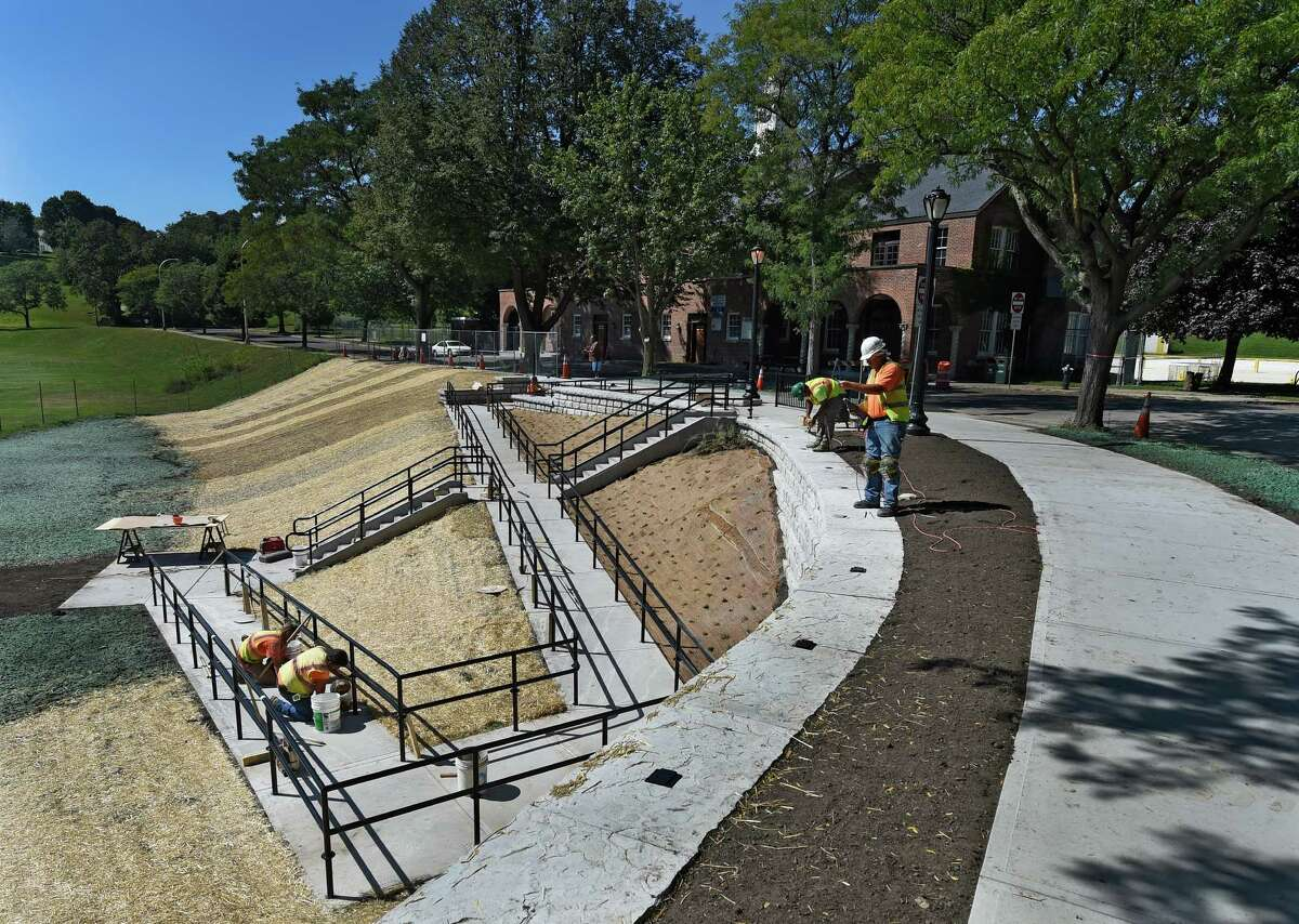Finishing touches are being put on the stairs at Lincoln Park near the pool, Thursday afternoon Sept. 17, 2015, which will be dedicated Saturday by Mayor Sheehan at 4th annual Mississippi Day in Albany, N.Y. (Skip Dickstein/Times Union)