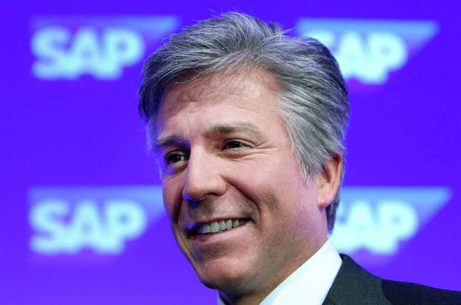 (FILES) A photo taken on January 20, 2015 shows Bill McDermott, CEO of German software company SAP, during his company's annual press conference at the SAP headquarters in Walldorf, western Germany. McDermott lost his left eye while falling in stairs during a recent private visit to USA, he said in an interview with German newspaper Sueddeutsche Zeitung published on September 17, 2015. AFP PHOTO / DANIEL ROLANDDANIEL ROLAND/AFP/Getty Images Photo: DANIEL ROLAND, Stringer / AFP