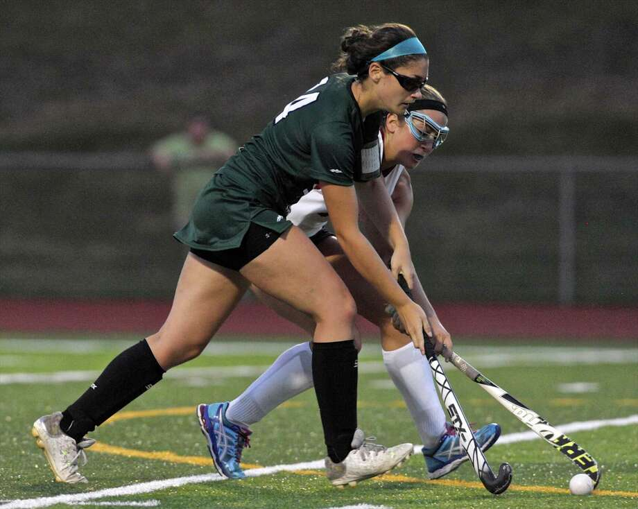 Photographs from the girls high school field hockey game between New Milford and Pomperaug high schools, on Thursday night, September 17, 2015,  at Pomperaug High School in Southbury, Conn. Photo: H John Voorhees III / Hearst Connecticut Media / The News-Times