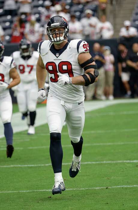 Houston Texans defensive end J.J. Watt (99) is shown before an NFL football game Sunday, Sept. 13, 2015, in Houston. (AP Photo/David J. Phillip) Photo: David J. Phillip, STF / AP