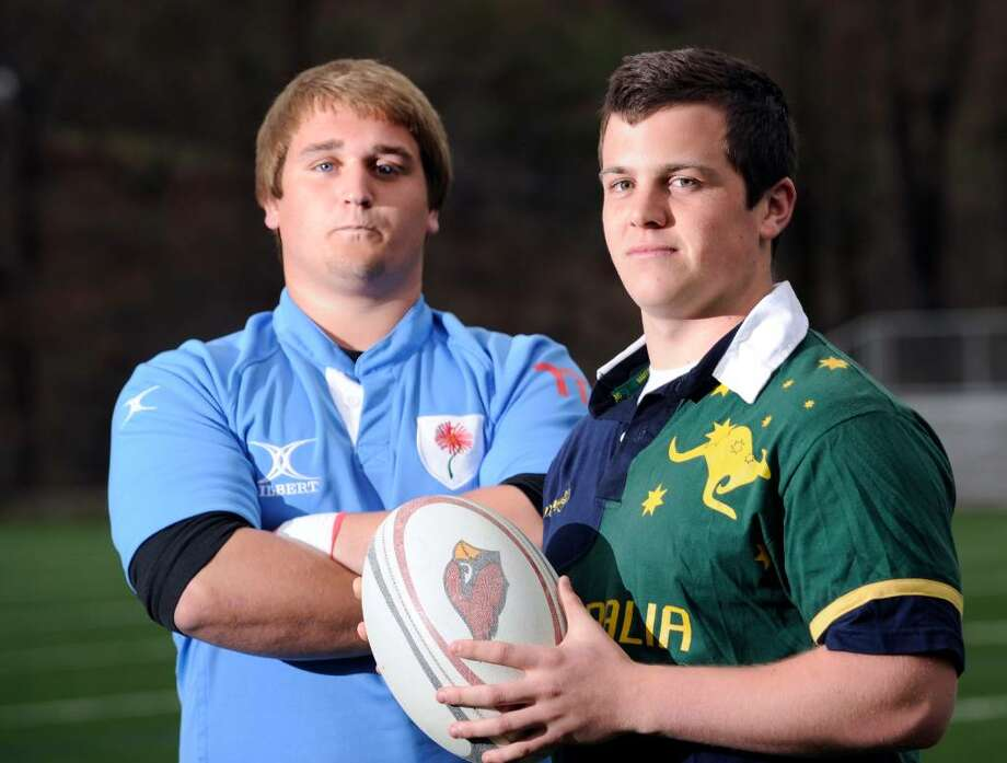 Greenwich High School seniors and rugby captains, left to right, James Utton, 17, and Jack Zimmermann, 18, posed on the athletic field at GHS, Tuesday, March 23rd, 2010. Photo: Bob Luckey / Greenwich Time