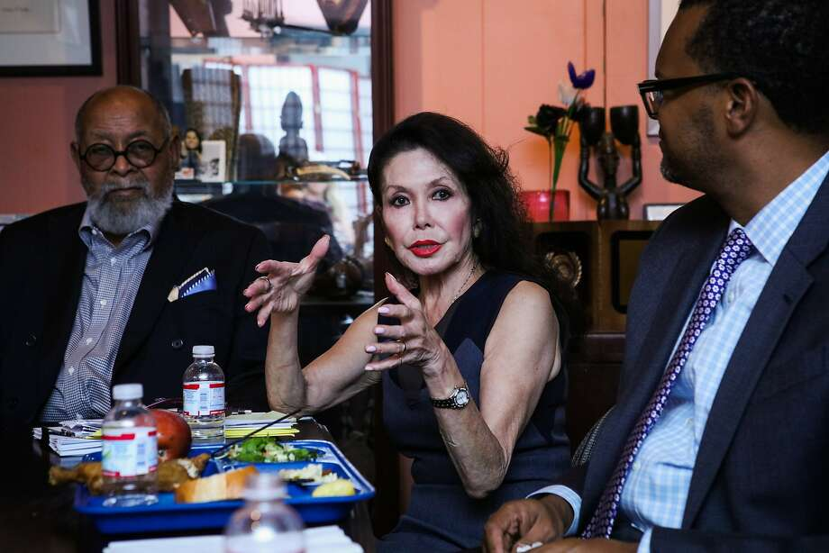Jan Mirikitani (center) discusses her ideas for changing vision during a meeting at Glide Memorial Church in San Francisco, California on Thursday, September 17, 2015. Jan Mirikitani will be receiving a Community Leadership Award from the San Francisco Foundation at Bay Area Bold. Photo: Gabrielle Lurie, Special To The Chronicle