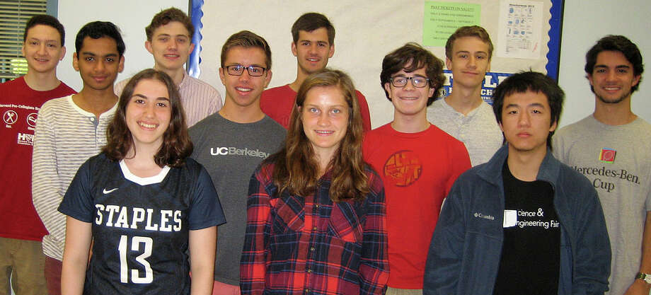 Twelve seniors at Staples High School have earned semifinalist status in this year's National Merit Scholarship program. They include: from left, back row, Jordan R. Darefsky, George R. Menz, Grant G. Tobben, Quinn B. Hughes and Nicolas Ribolla; center row, Arjun S. Dhindsa, Peter C. Sauer, Aaron J. Samuels and Xiaotian Zhang, and front, Jodie L. Baris and Hannah N. DeBalsi. Missing from photo is Steven K. Xu. Photo: Contributed / Contributed Photo / Westport News