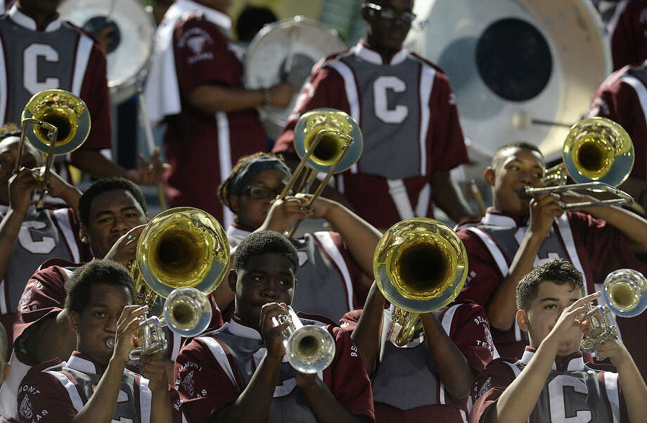 Central's band performs from the stands as they await the start of their match-up against Summer Creek in the Lone Star Classic at the Thomas Center Saturday.  Photo taken Saturday, September 12, 2015  Photo by Kim Brent Photo: Kim Brent / Beaumont Enterprise