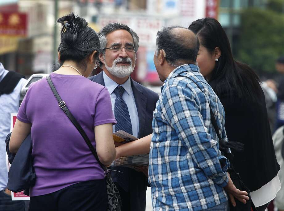 Aaron Peskin meets with constituents while campaigning in Chinatown in San Francisco on Sept. 17, 2015. Photo: Paul Chinn, The Chronicle