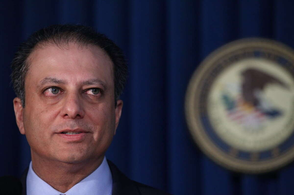 Manhattan U.S. Attorney Preet Bharara speaks at a news conference in Manhattan to announce that Federal prosecutors have reached an agreement with General Motors over a criminal investigation into how the Detroit automaker broke the law by concealing a deadly problem with small-car ignition switches on September 17, 2015, in New York City. (Photo by Spencer Platt/Getty Images)