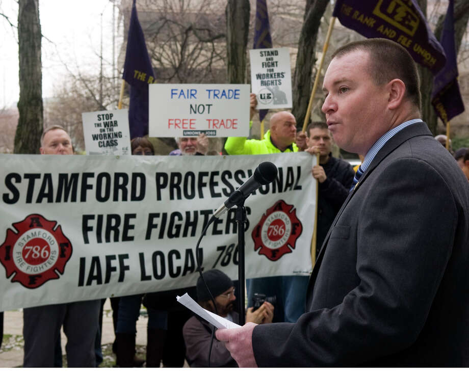 Brendan Keatley, president of the Stamford Professional Fire Fighters Association. Photo: Keelin Daly / File Photo / Stamford Advocate