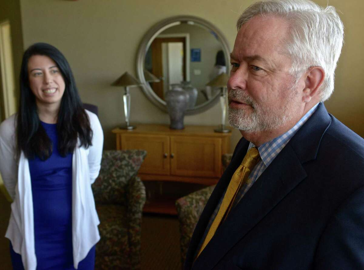 David Martin, Dean of the Ancell School of Business at Western Connecticut State University, and Amanda Allen, from the Women's Business Development Council on the WCSU Westside campus on Thursday, September 17, 2015, in Danbury, Conn.