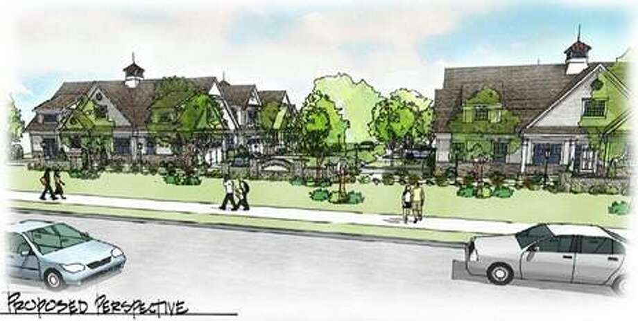 Proposed perspective of the Coach Homes at Ridgefield development Photo: Charter Group Partners