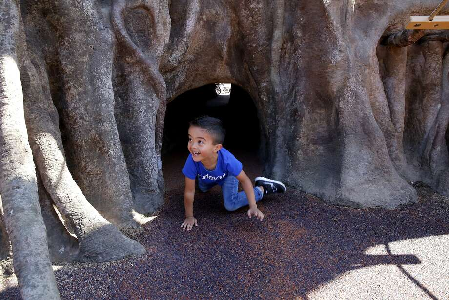 Ryan Hernandez, 4, crawls through a tunnel at the zoo's playground, which is designed to foster crucial life skills. Photo: Connor Radnovich, The Chronicle