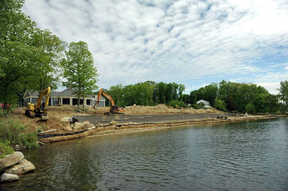 A new seawall and expanded beach area are part of the renovations underway at the Brookfield Town Park in Brookfield, Conn., Thursday, May 21, 2015. Photo: Carol Kaliff / Carol Kaliff / The News-Times