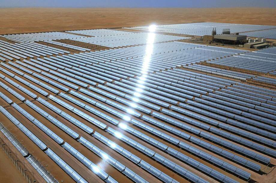 Concentrating solar power plants, such as the one shown here, use mirrors to concentrate energy from the sun to drive turbines to create electricity. The turbines are traditionally powered by steam, but SwRI won a contract to design and test machinery that uses carbon dioxide instead. Photo: Courtesy Photo