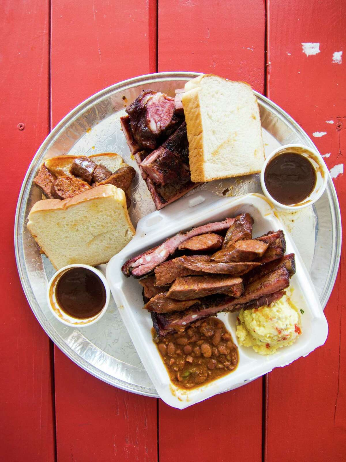 Links and ribs plate and sandwiches at Burns Original BBQ. Burns Original BBQ