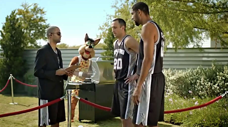 A screen-grab of an H-E-B commercial that aired in 2013 with Tony Parker as doorman denying Tim Duncan and Manu Ginobili entry to an exclusive cookout even though he personally invited both. Photo: Courtesy Photo