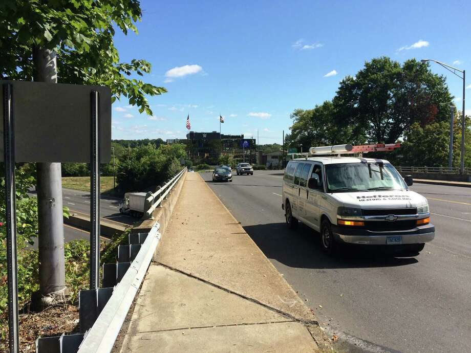 The Department of Transportation will begin work to rehabilitate the bride that carries Route 1 over Interstate 95 in 2016. Photo: Alex Gecan / The Advocate / Stamford Advocate
