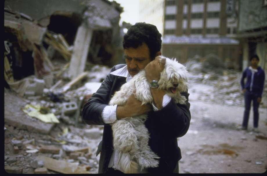A man hugs his dog after his 2 children died in the 1985 earthquake. Photo: Charles Bonnay, The LIFE Images Collection/Getty
