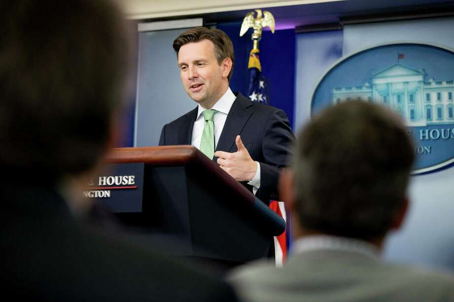 "White House press secretary Josh Earnest talks to the media during the daily press briefing at the White House in Washington, Friday, Sept. 18, 2015. Earnest discussed relations between the US and Cuba, comments calling President Barack Obama a ""Muslim"" made at a recent rally for presidential candidate Donald Trump, and other topics. (AP Photo/Andrew Harnik) Photo: Andrew Harnik, STF / AP"
