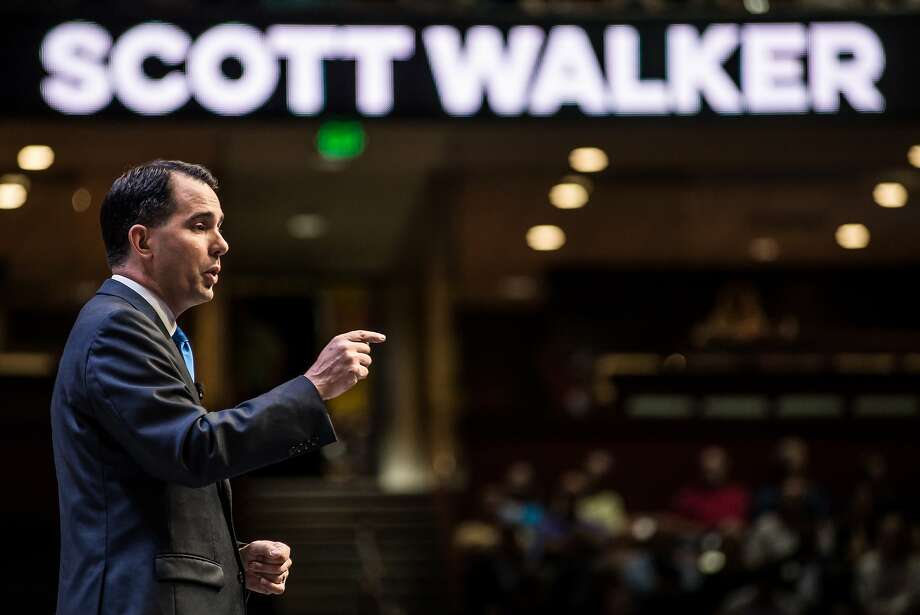 Wisconsin Gov. and Republican presidential candidate Scott Walker speaks to voters at the Heritage Action Presidential Candidate Forum September 18, 2015 in Greenville, S.C. Photo: Sean Rayford, Getty Images