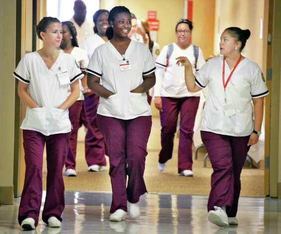 Samaritan School of Nursing students in their new school facilities at Samaritan School of Nursing's new school facilities at Mary's Hospital Friday Sept. 18, 2015, in Troy, NY.  (John Carl D'Annibale / Times Union) Photo: John Carl D'Annibale / 00033415A