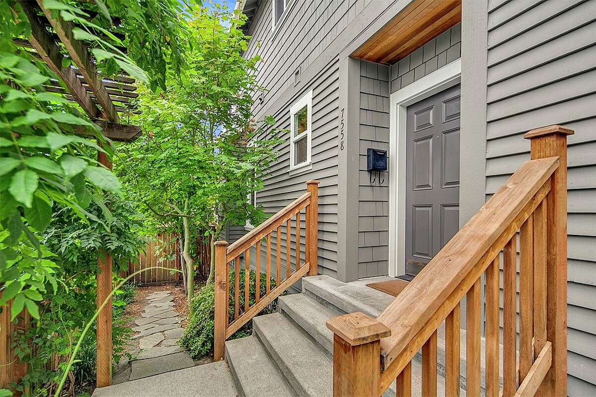 Front entrance at 7558 35th Ave. NE in Wedgwood. The three-bedroom, 2.5-bathroom two-level home is listed at $680,000.