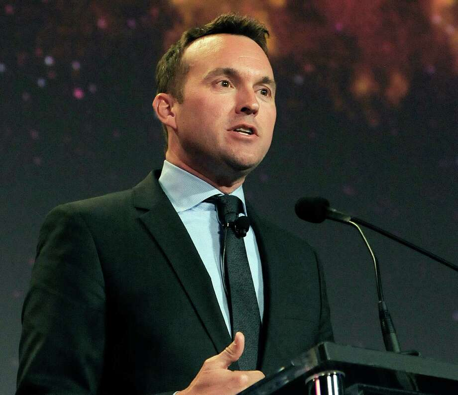 This photo provided by the U.S. Air Force shows Eric Fanning speaking at the 30th Space Symposium Corporate Partnership dinner May 20, 2014, in Colorado Springs, Colo. President Barack Obama is nominating longtime Pentagon official Eric Fanning to be the Army's new secretary. If confirmed, Fanning would be the nation's first openly gay leader of a military service. (Duncan Wood/U.S. Air Force via AP) Photo: Duncan Wood, HOGP / Associated Press / U.S. Air Force