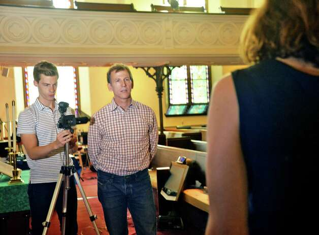 """Casting assitant Scott Anderson, left, and casting director Richard Hicks interviews actors during an open casting call for the independent film project """"Weightless"""" at Fellowship Hall Friday Sept. 18, 2015 in Troy, NY.  (John Carl D'Annibale / Times Union) Photo: John Carl D'Annibale / 00033187A"""