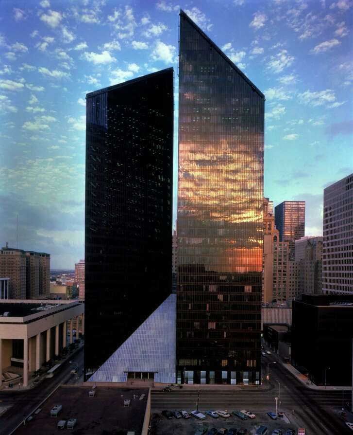 Pennzoil Place was designed by John Burgee and the late Philip Johnson.