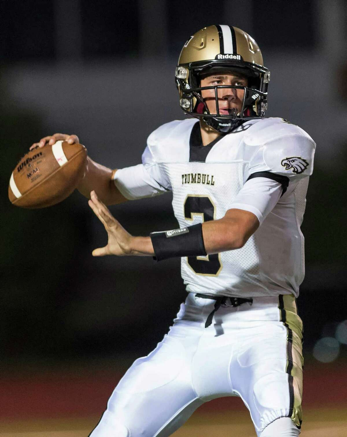 Trumbull quarterback John Mcelroy had been solid through three games, completing 56.1 percent of his passes to go along with a 4:1 TD:INT ratio in his team's run-first offense, but Friday was his coming out party. All four of the Eagles' touchdowns came through the air in a crucial 28-23 win over Greenwich, proving that Trumbull can sling it when need be.