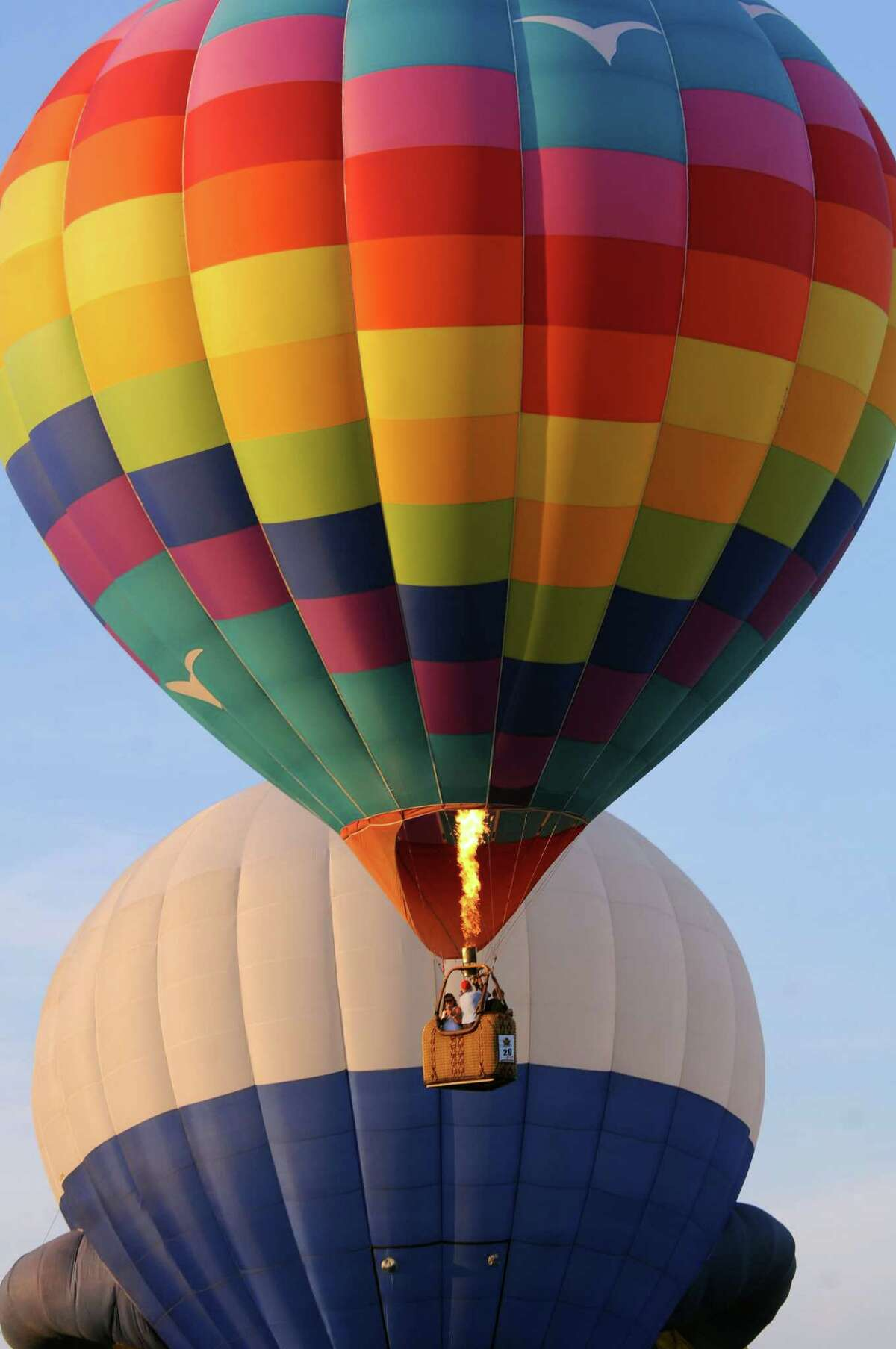 Hot air balloons lift off during the Adirondack Balloon Festival on Friday, Sept. 18, 2015, at Floyd Bennett Memorial Airport in Queensbury, N.Y. (Cindy Schultz / Times Union)