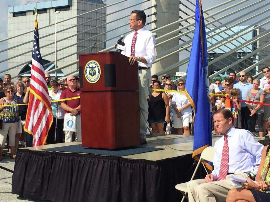 Gov. Dannel P. Malloy welcomes guests at the dedication of the southbound Pearl Harbor Memorial Bridge in New Haven on Saturday, Sept. 19, 2015. The public was invited to walk on the closed-to-traffic, 1.5-mile span for five hours. The southbound lanes of the bridge are epected to be open later this week. Photo: Gov. Dannel P. Malloy's Office Photo, Via Facebook.