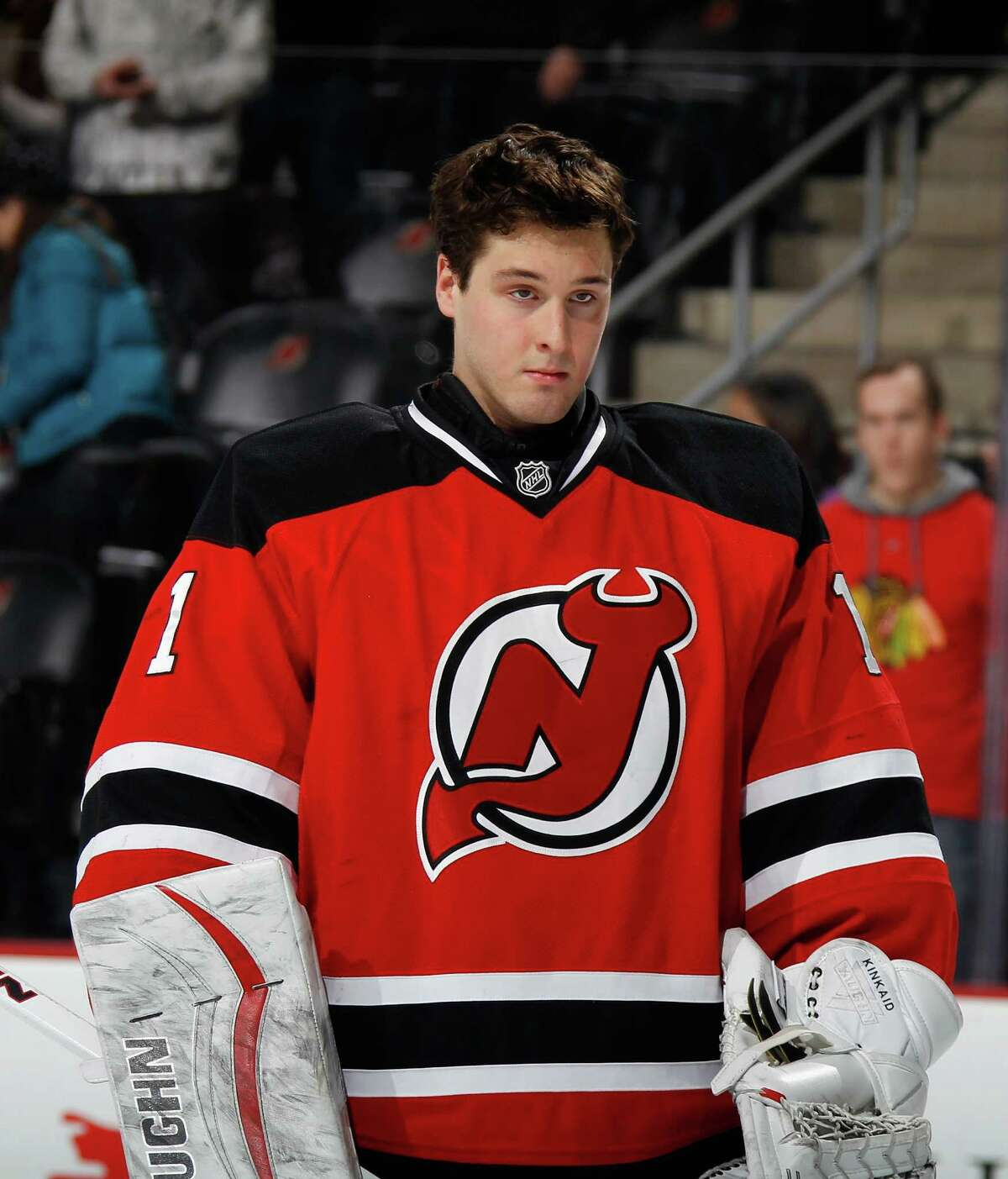 NEWARK, NJ - DECEMBER 09: Keith Kincaid #1 of the New Jersey Devils prepares for his first start against the Chicago Blackhawks at the Prudential Center on December 9, 2014 in Newark, New Jersey. (Photo by Bruce Bennett/Getty Images) ORG XMIT: 507048175
