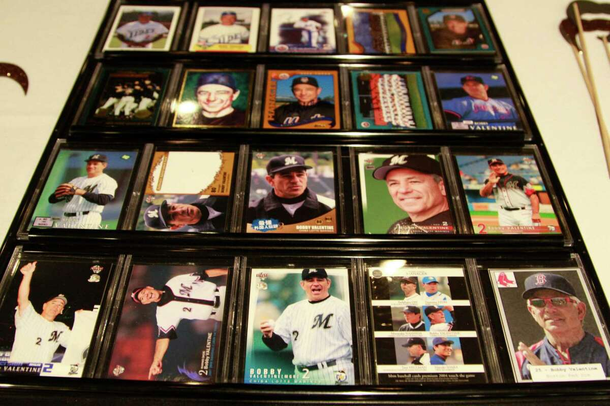 """A collection of baseball card of Bobby Valentineare displayed at the American Cancer Society's annaul """"Local Philanthropist Roast"""" at the Italian Center in Stamford on Thursday Sept. 17, 2015."""