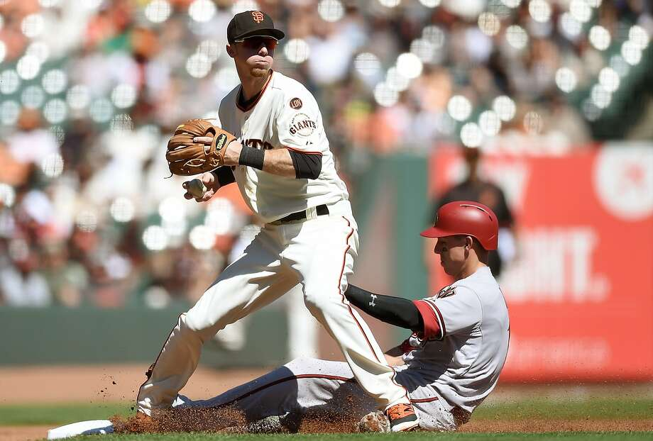 In this file image, Matt Duffy #5 of the San Francisco Giants gets the put out at third base on Jake Lamb #19 of the Arizona Diamondbacks in the top of the second inning at AT&T Park on September 19, 2015 in San Francisco, California. Photo: Thearon W. Henderson, Getty Images