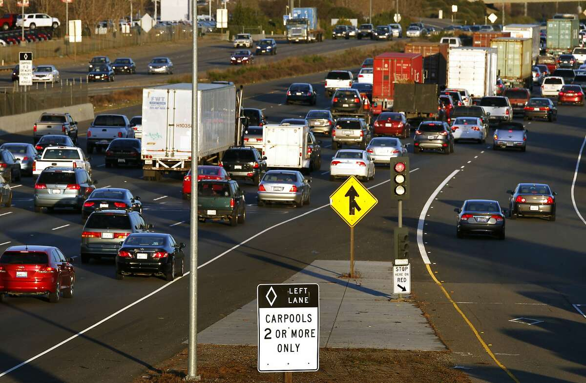 The East bound lanes of the I-580 freeway passing through Pleasanton Calif., on Thursday Feb. 21, 2013. After years of talk more express lanes are coming to the Bay Area, solo drivers will be able to buy their way into carpool lanes during their commutes.