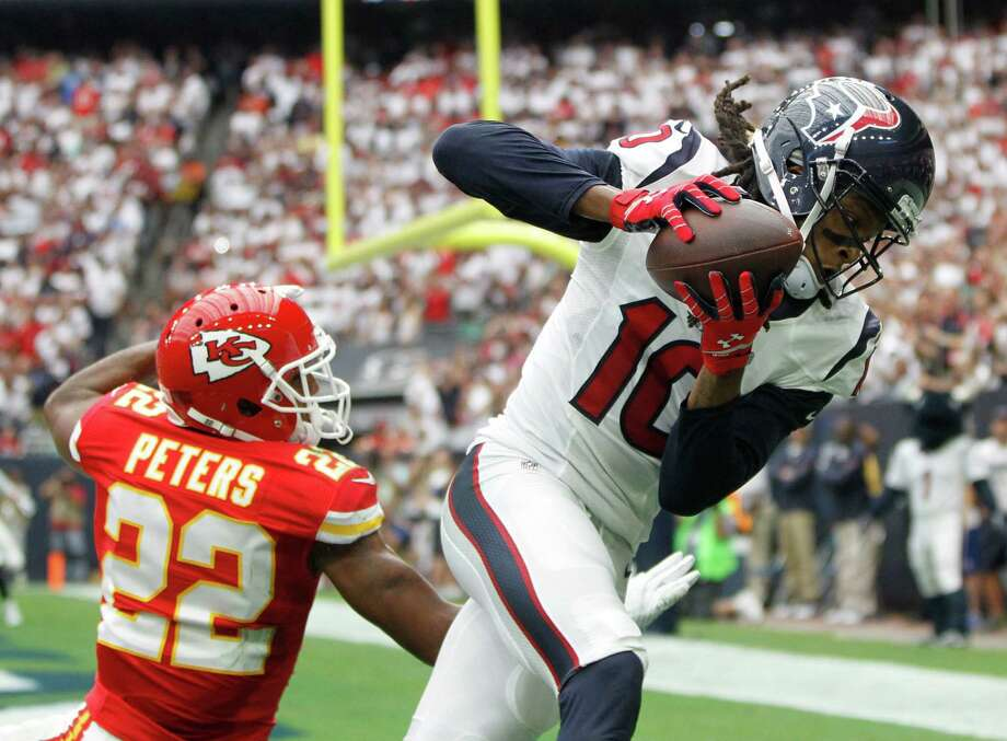 With two exceptions, DeAndre Hopkins, right, got off to a good 2015 start last week. He'll try to lend an even bigger hand today. Photo: Karen Warren, Staff / © 2015 Houston Chronicle