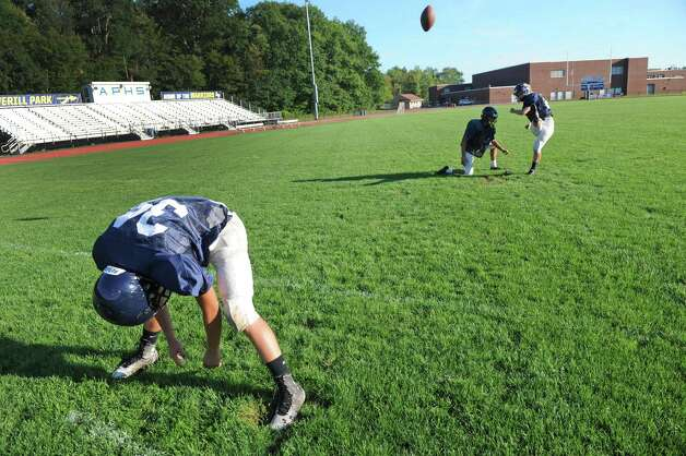 Averill Park High School football senior kicker Amanda Young practices her point after attempts on Wednesday Sept. 16, 2015 in Averill Park, N.Y.  (Michael P. Farrell/Times Union) Photo: Michael P. Farrell / 00033386A