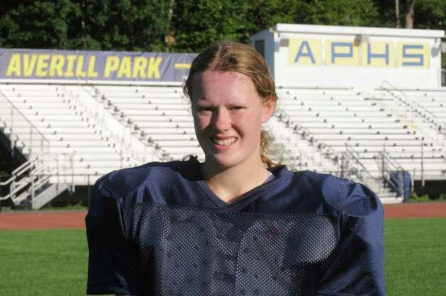 Averill Park High School football senior kicker Amanda Young on Wednesday Sept. 16, 2015 in Averill Park, N.Y.  (Michael P. Farrell/Times Union) Photo: Michael P. Farrell / 00033386A