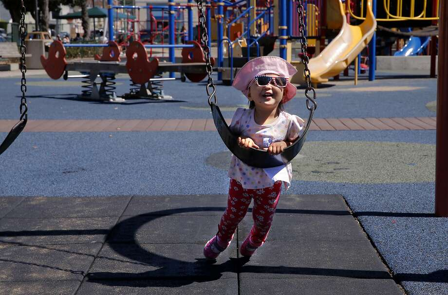 2-year-old Emilia Kekki plays at the South Sunset Playground in San Francisco, Calif. on Sat. September 19, 2015. San Francisco Supervisor Mark Farrell will formally introduce a ballot initiative for the June 2016 ballot that will guarantee over $350 million of new dollars for the Recreation and Parks department. Photo: Michael Macor, The Chronicle