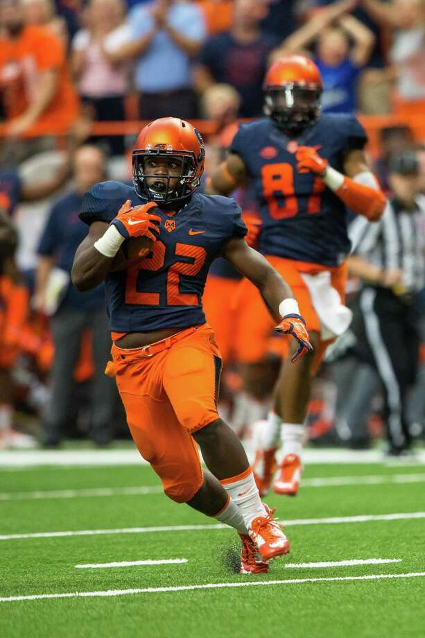 SYRACUSE, NY - SEPTEMBER 19:  Jordan Fredericks #22 of the Syracuse Orange carries the ball during the first quarter against the Central Michigan Chippewas on September 19, 2015 at The Carrier Dome in Syracuse, New York.  (Photo by Brett Carlsen/Getty Images) ORG XMIT: 568009793 Photo: Brett Carlsen / 2015 Getty Images