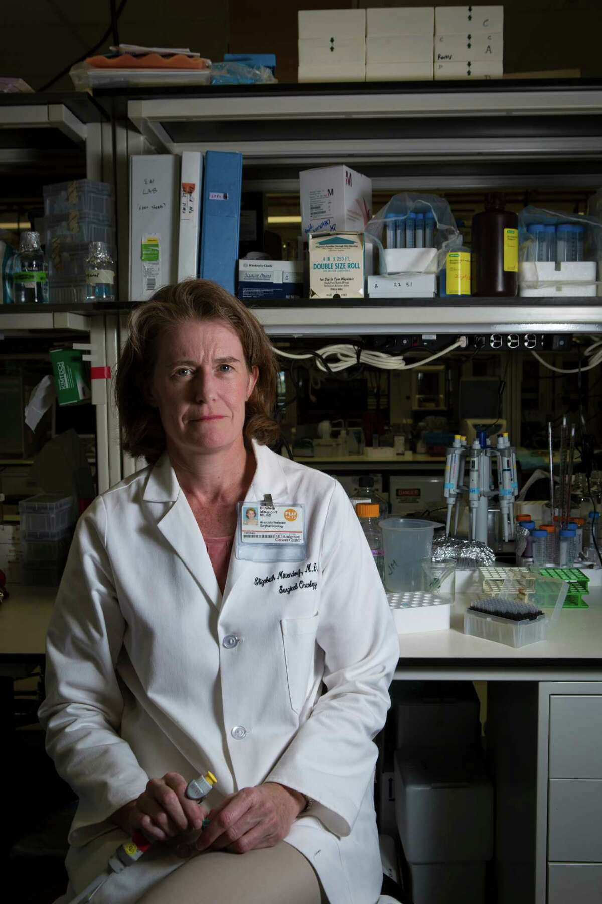 Dr. Elizabeth Mittendorf is an associate professor in the Department of Surgical Oncology at the University of Texas MD Anderson Cancer Center, focusing efforts on the study of breast cancer with a specific interest in breast cancer immunotherapy. Wednesday, Sept. 16, 2015, in Houston. ( Marie D. De Jesus / Houston Chronicle )