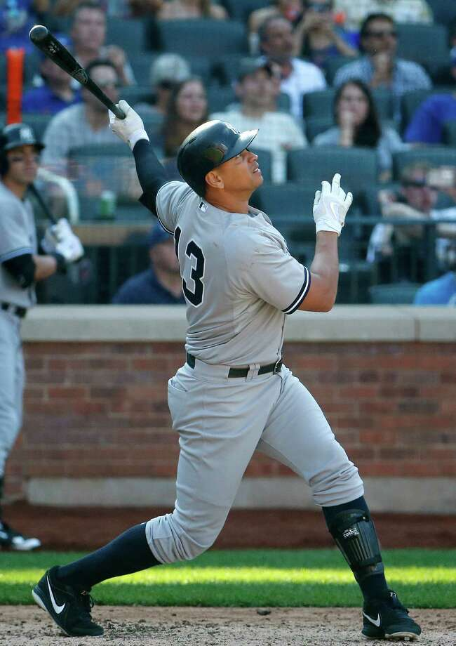 New York Yankees' Alex Rodriguez flies out during the ninth inning of a baseball game against the New York Mets, Saturday, Sept. 19, 2015, in New York. The Yankees won 5-0. (AP Photo/Julio Cortez) ORG XMIT: NYM114 Photo: Julio Cortez / AP