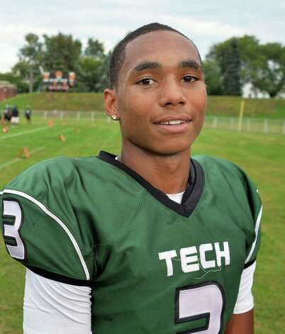 Green Tech's #3 Raki Johnson before the start of Saturday's game against Scotia at Bleecker Stadium Sept. 19, 2015 in Albany, NY.  (John Carl D'Annibale / Times Union) Photo: John Carl D'Annibale / 00033441A