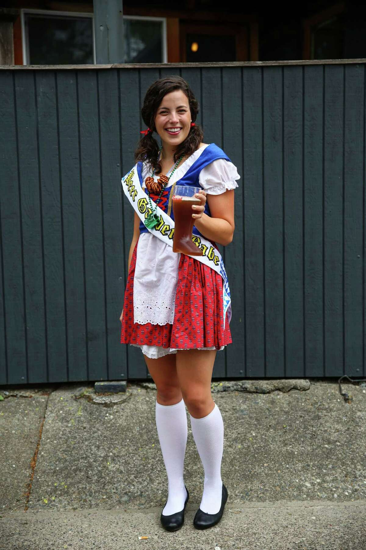 Claire Rachor shows her Oktoberfest spirit during Fremont Oktoberfest on Saturday, September 19, 2015. Rachor was celebrating her bachelorette party at the festival. The annual three day event climates in a Sunday Oktoberfest 5k and chainsaw pumpkin carving contest.