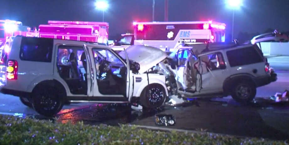 Two vehicles collided on FM 529 in northwest Houston early Sunday, killing both drivers. Photo: Metro Video