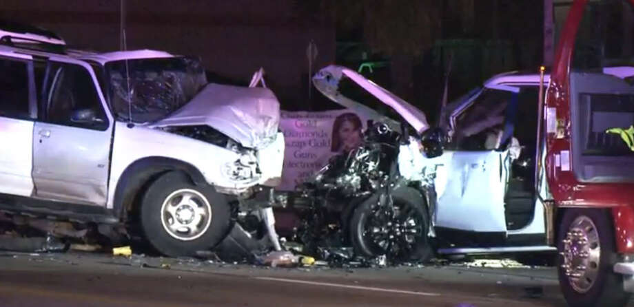 Two drivers collided on FM 529 in northwest Houston early Sunday morning, killing both.  Photo: Metro Video